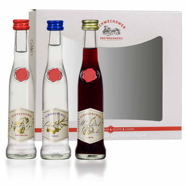 Schwechower 1229® Zwetschgenbrand, Sanddorngeist, Weichselkirschlikör 3 x 4cl geliefert in kleinem Display (Karton)