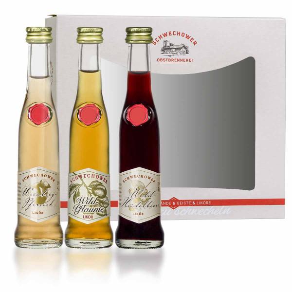 Schwechower 1229® Wildpflaumenlikör, Weinbergpfirsichlikör, Waldheidelbeerlikör 3 x 4cl - geliefert in kleinem Display (Karton)